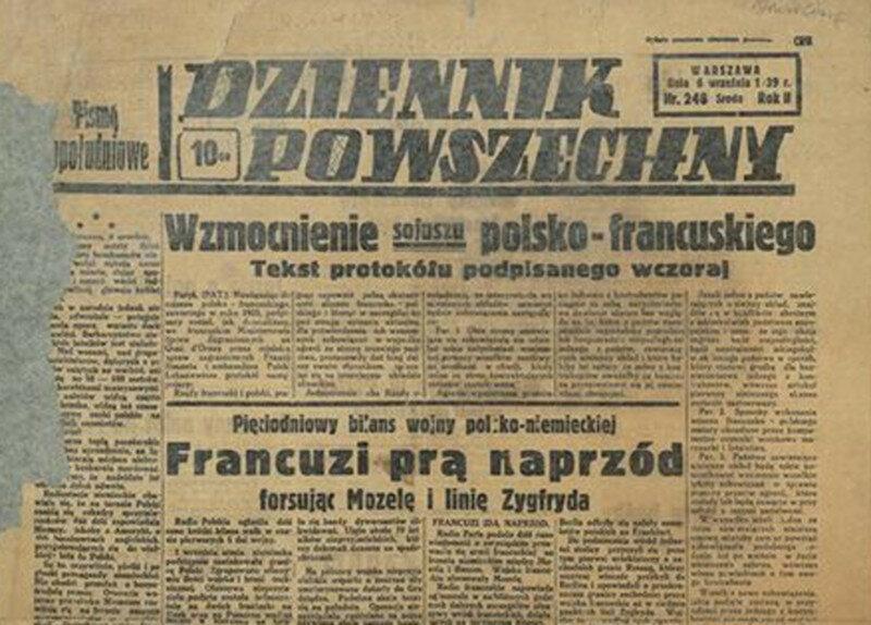 """""""Dziennik Powszechny"""" z 6 września Francuska ofensywa, niestety tylko na papierze."""